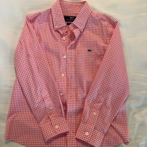 Vineyard Vines Boy Gingham Button-down Whale Shirt
